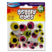 Crafty Bitz Assorted Coloured Goggly Eyes 64 pack